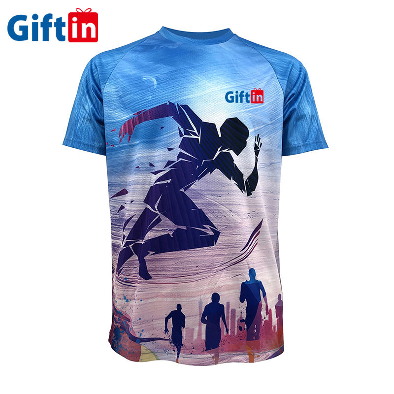 Quick Dry Fit Coolmax Promotional Custom Polyester Marathon Sport Running Dye Sublimation T shirt