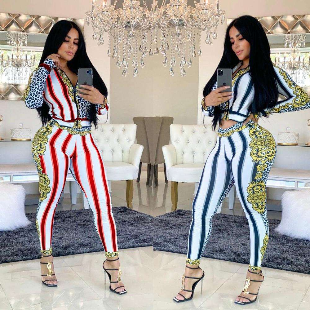 Winter Fitness Sports Wear Sexy Checkered Floral Gold Zipper Deep V Collar Long Sleeve Women Flawless Colors Jumpsuits