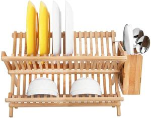 Ajustable Bamboo Dish Drying Racks With Utensil Drainer For Kichen
