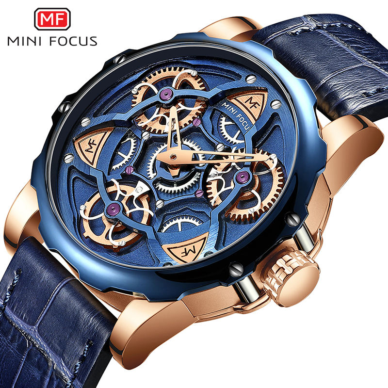 Mini Focus Custom Logo OEM Customize Luxury Watch Men Gold Blue Bracelet Wristwatches Male Watch Clock reloj