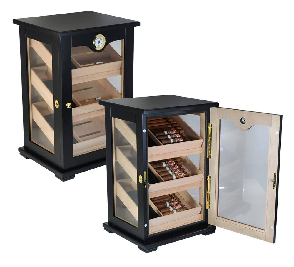 Large Capacity Wooden Cigar Cabinet 150 CT Black Color With 3 Humidifier and 1 Hygrometer