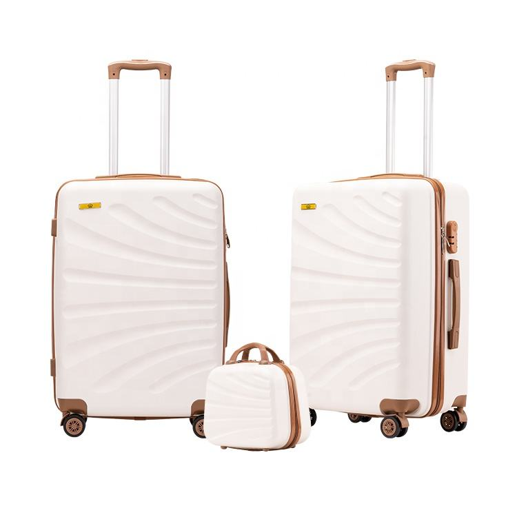Good Price 3 Pieces Sets ABS Plastic Rolling Luggage Suitcases Trolley Travel Bag