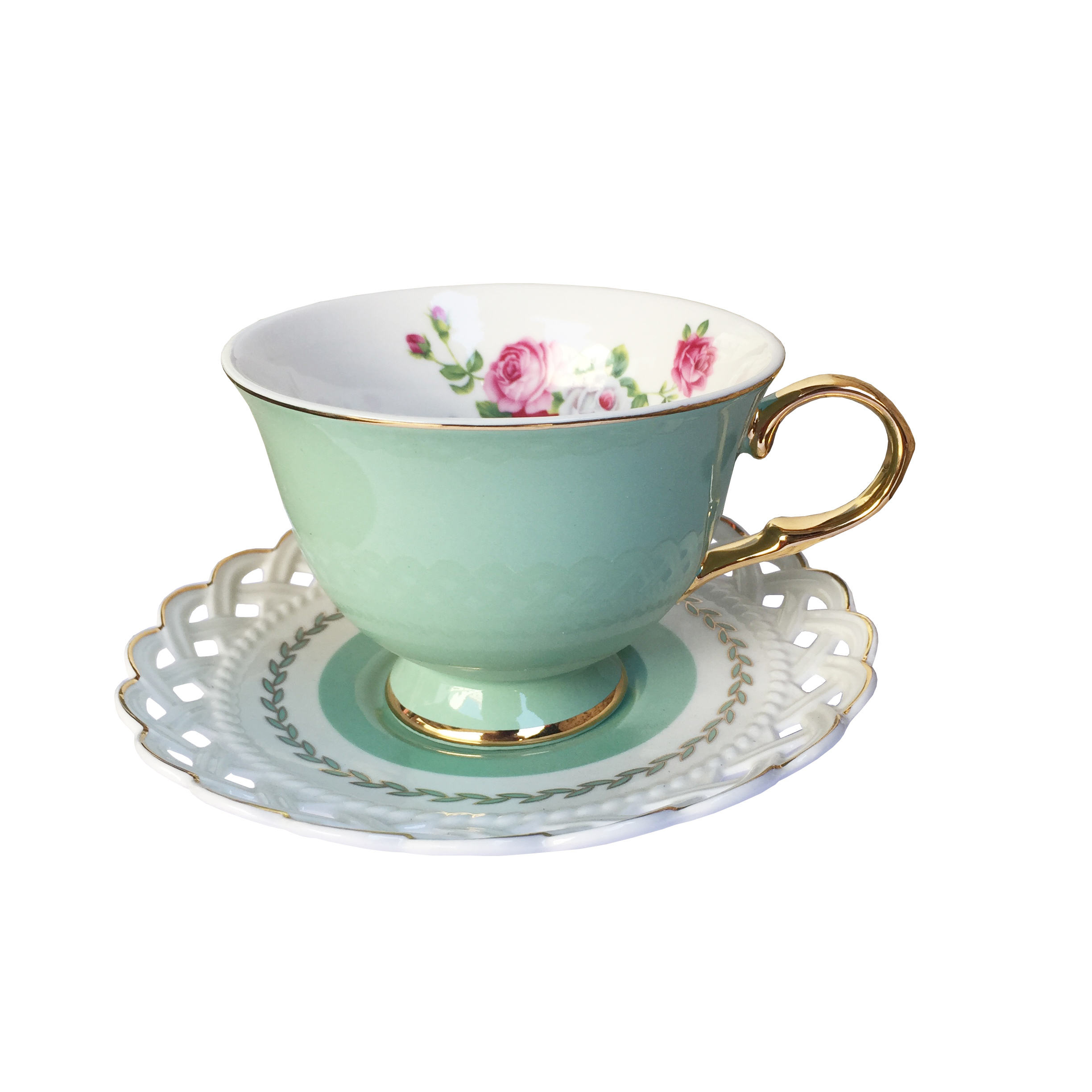 European style porcelain coffee cup and saucer reusable ceramic cafe cup saucer gift box