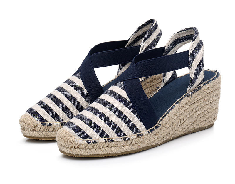 Amazon Hot Selling Women Jute Wedges Shoes Espadrilles Sandals Cross Band Platform Shoes