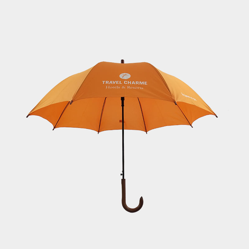 wood curved handle good quality straight promotion umbrella