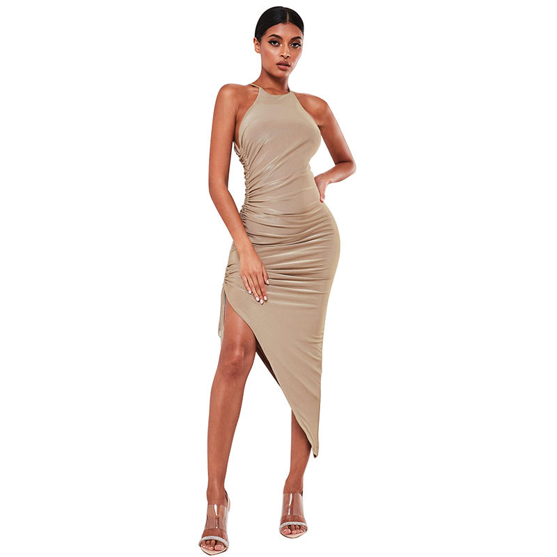 Formelle sexy Smart Short Party Plissee unregelmäßigen Saum Sling Abendkleid