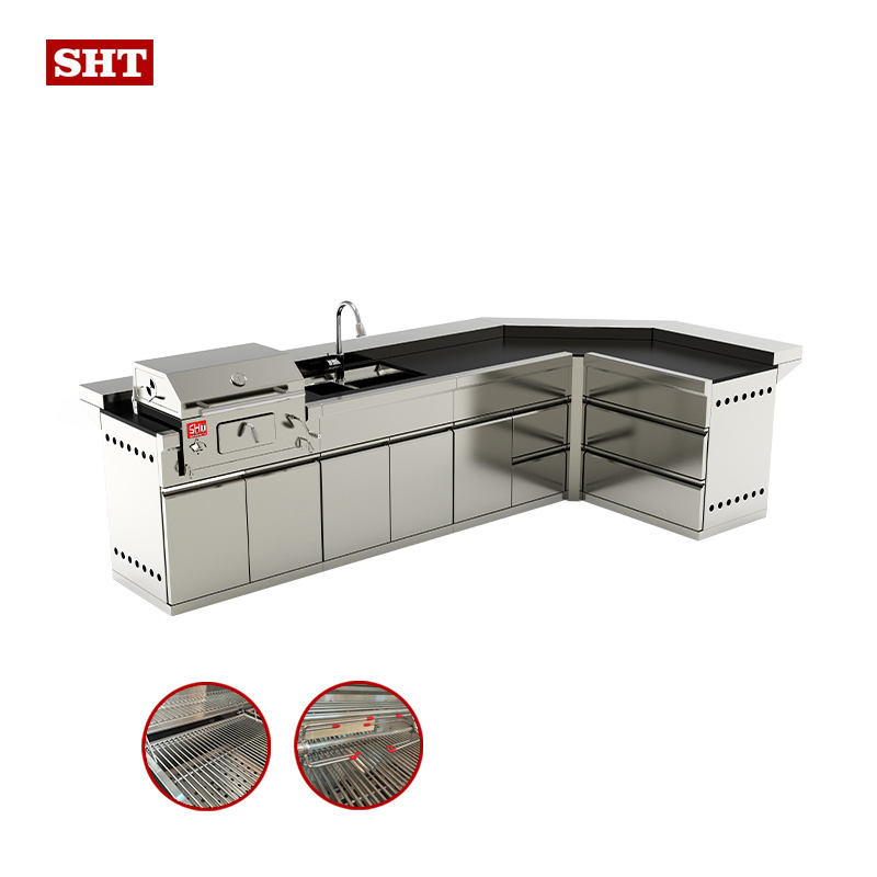 Industrial charcoal grill Save Space Prefabricated built charcoal grills outdoor new metal bbq kitchens