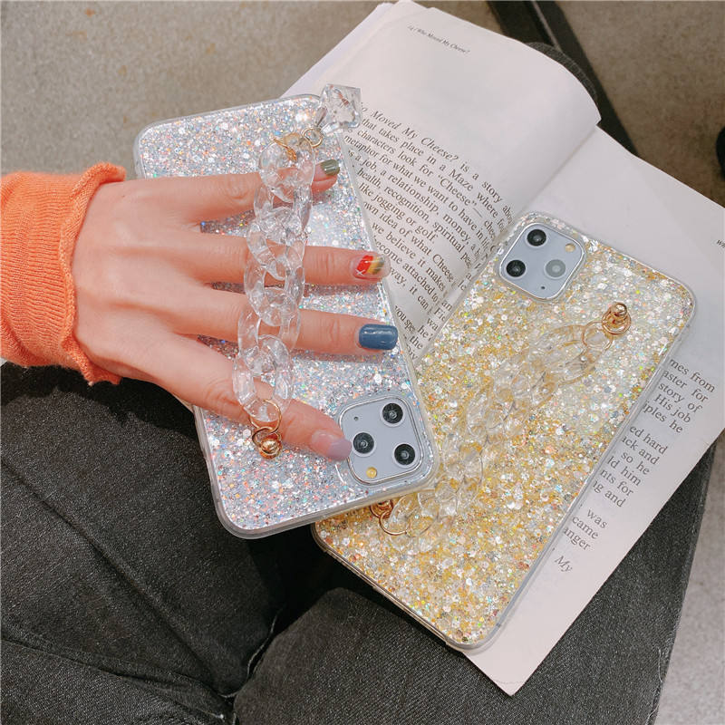 2020 New 3D Luxury Phone Case Bling Crystal Bracelet Chain For iPhone 11 Pro X XR XS Max 7 8 Plus Fashion Women Soft Cover
