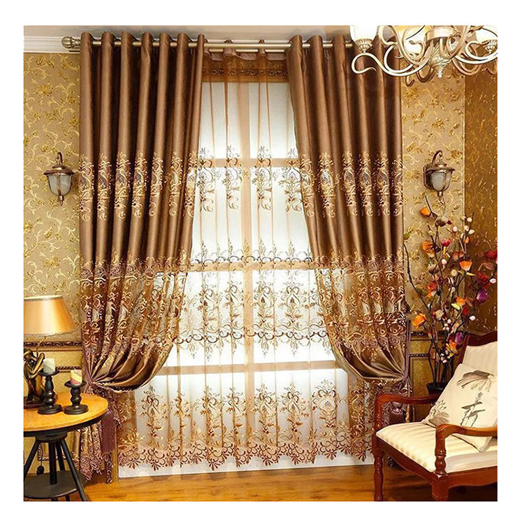 Ready Made European Modern luxury tending Double Layer blackout Curtains For The Living Room