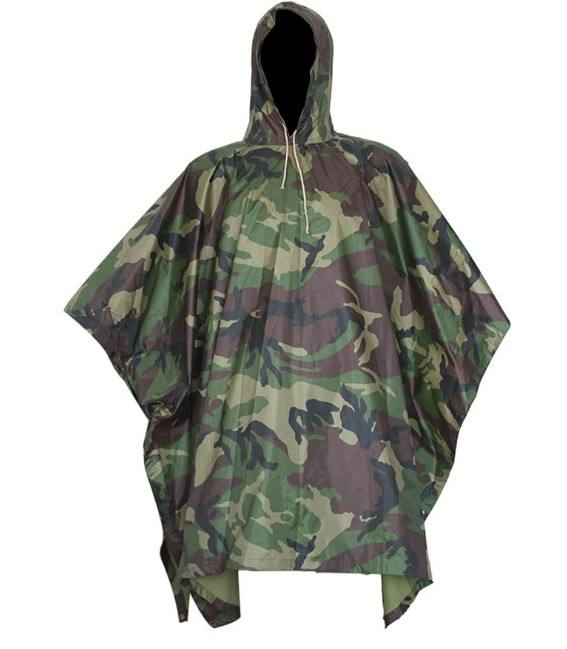 camouflage Polyester fabric pvc coated military rain poncho