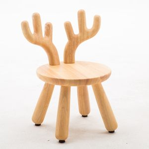 Solid wood chair supplier sika deer horns nordic style child chair wood