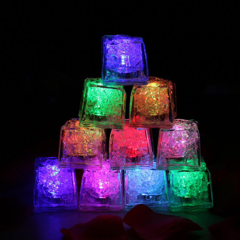 LED Ice Cubes Bar Fast Slow Flash Auto Changing Color Crystal Cube Water-Activated Light-up 7 Color For Romantic Party