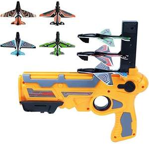 with 4 Pcs Glider Airplane Launcher Outdoor Sports Toy for Kids Blue One-Click Ejection Model Foam Airplane Bubble Catapult Plane Toy Airplane