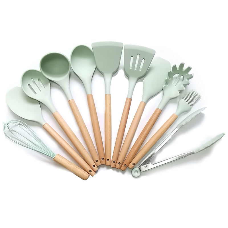 Silicone Kitchen Cooking Utensils Tool Set 12 Pcs With Wooden Handle free BPA