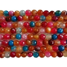 8mm natural multicolor faceted agate beads gemstone beads for jewelry making