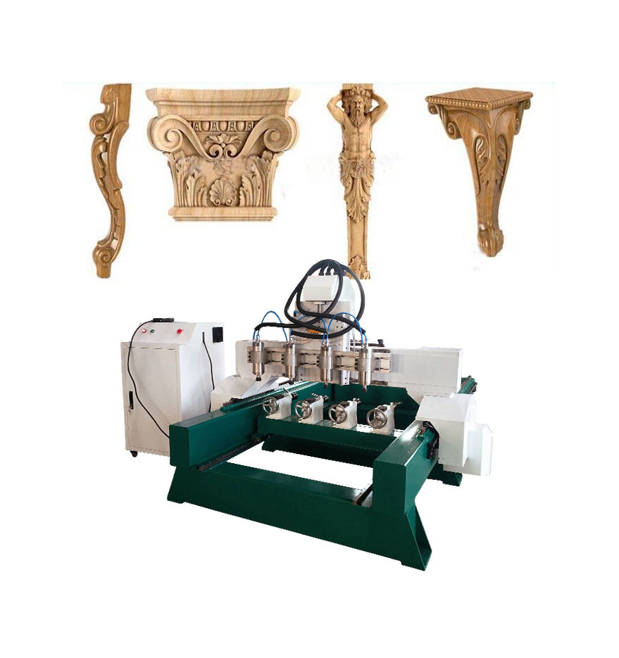 cheap China 4 axis cnc wood router 1325 cnc milling machine with turning lathe turning device