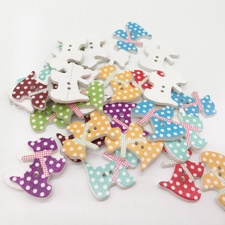 two holes polka dot printed wood bow tie dog buttons for scrapbook making