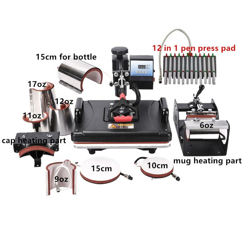 RubySub 11 in 1 Combo Heat Press Machines Sublimation Mug Hat Pen Plate Puzzle T shirt Printing Machine