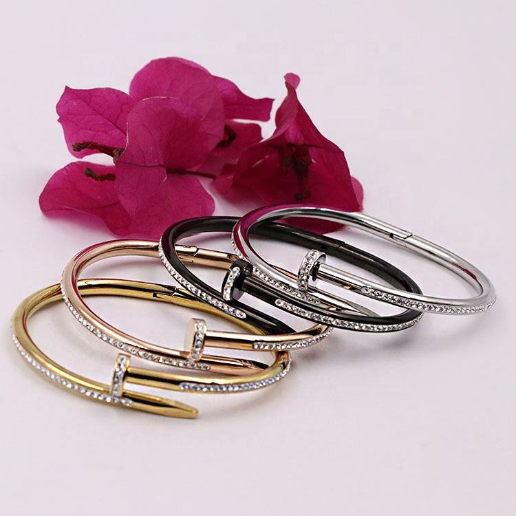 Simple female stainless steel cubic sublimation blanks expandable bracelet bangle