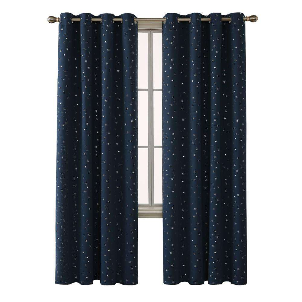 New Christmas Navy Blue Decorative Metal Star Printed Polyester Thermal Blackout Fabric Curtains Drapes for Meeting Room Hotel