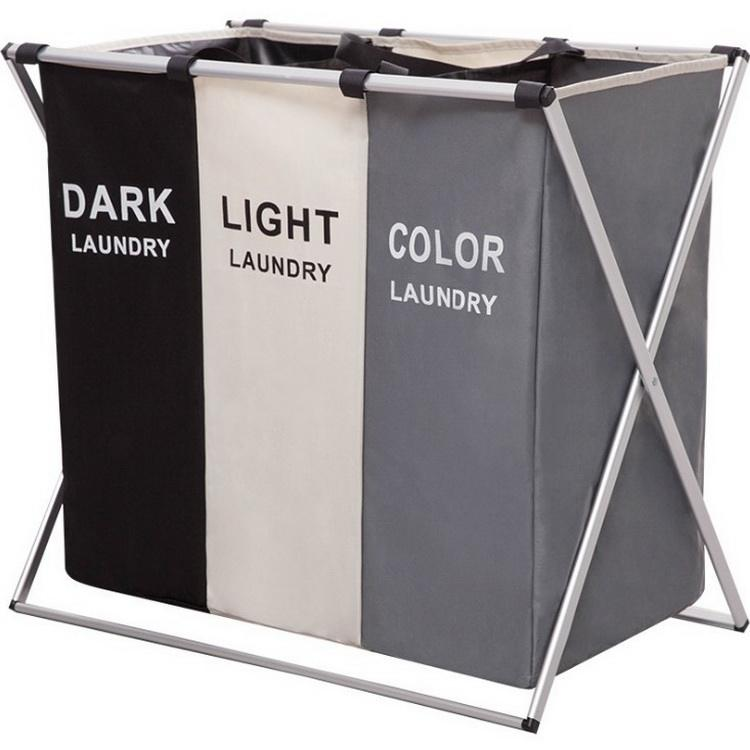 QJMAX 3 Sections Laundry Hamper Basket With Aluminum Frame Durable Dirty Clothes Bag For Bathroom