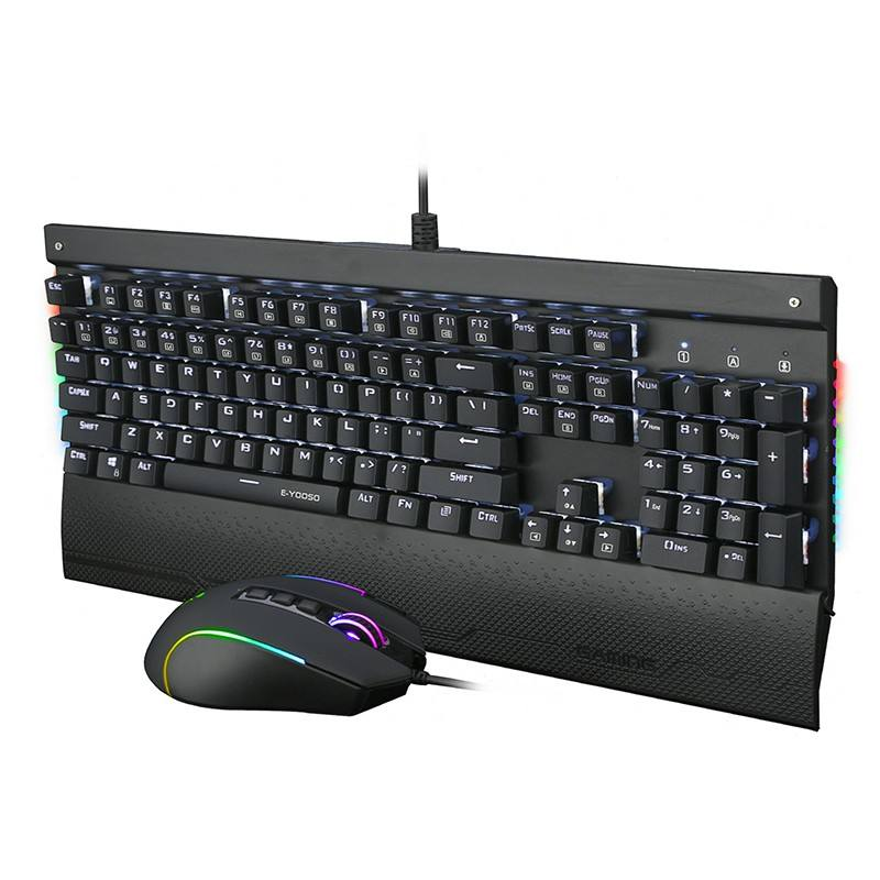 Element Set <span class=keywords><strong>Keyboard</strong></span> dan Mouse Mekanis, Kit Permainan Komputer Berkabel RGB