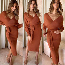 Fall Winter Club Bandage Knitted Sweater Dress Fashion Long Sleeve V Neck Wrap Women Elegant Dresses Sexy Backless Clothes