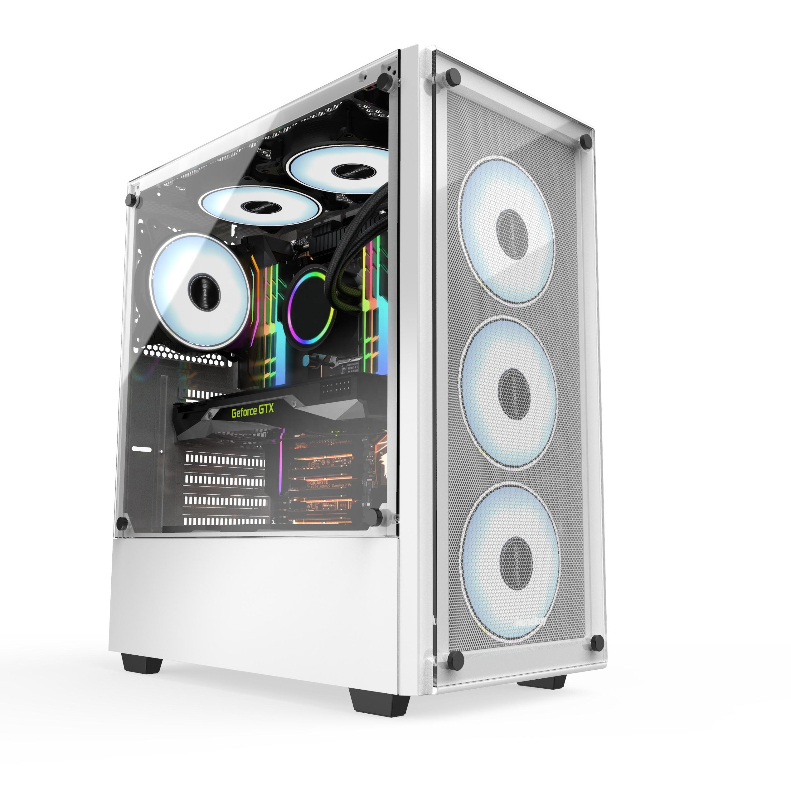 Great Cable Management/Airflow gaming pc case tempered glass mid tower atx computer case