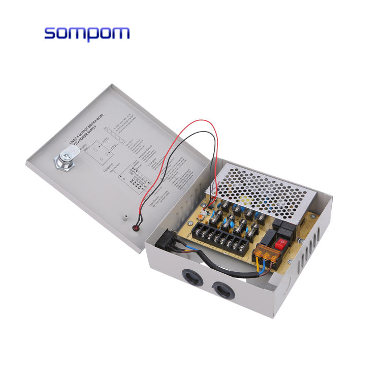 Sompom Power Supply 12v 5a 4ch CCTV Power Supply With US Plug
