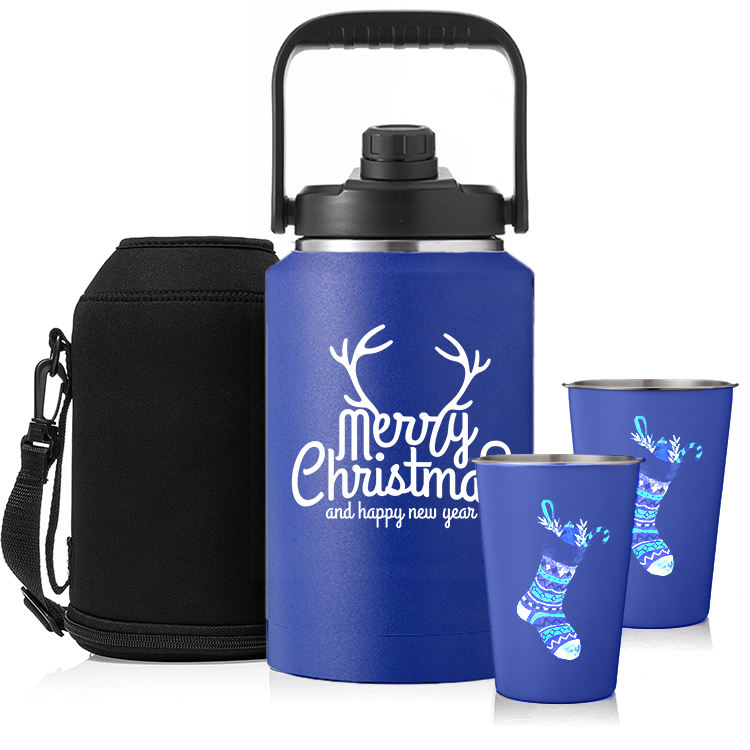 Christmas 64oz 128oz 1 Gallon Stainless Steel Big Water Bottle Beer Wine Thermal Jug Insulated 128 oz Growler Keg Manufacturer