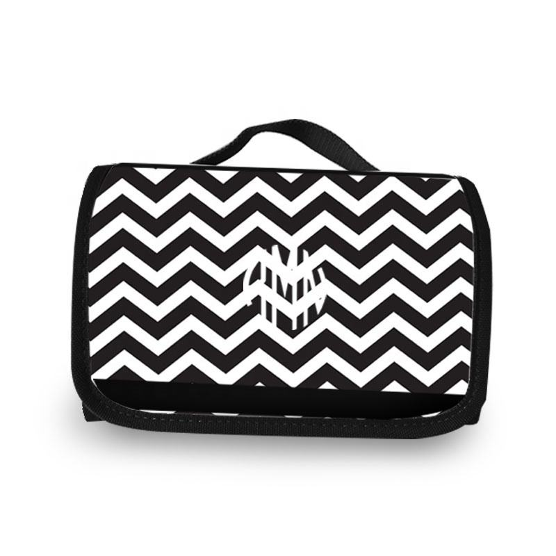 High Quality Black Chevron Storage Kit Organizer Fashion Personalized Cosmetic Bag Hanging Toiletry Bags for Ladies Traveling