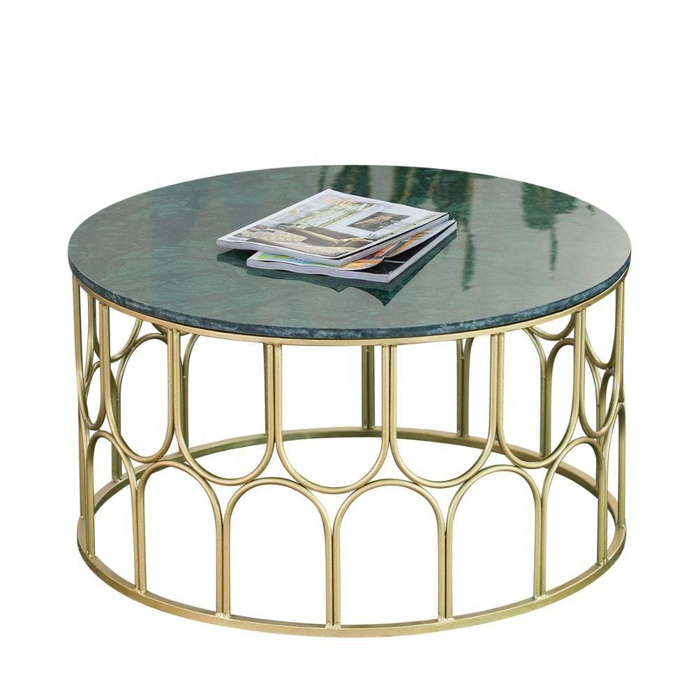 Round Marble Side Table Living Room Hotel Table Arch Metal Base