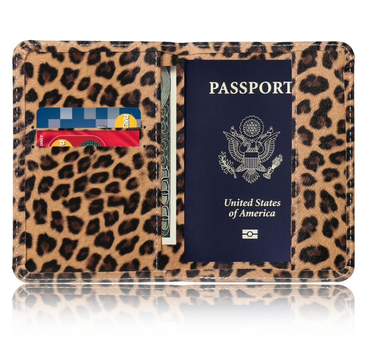 New Design Leopard Printed Travel Wallet Passport Card Holders