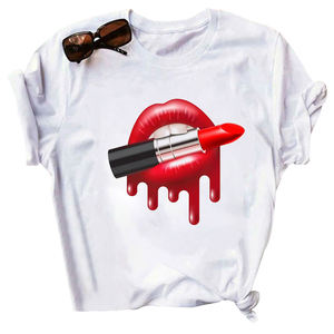 In stock Short Sleeve t shirt women Red Tongue T-Shirt Summer Cute Print Graphic Tees Tops clothing women t-shirt