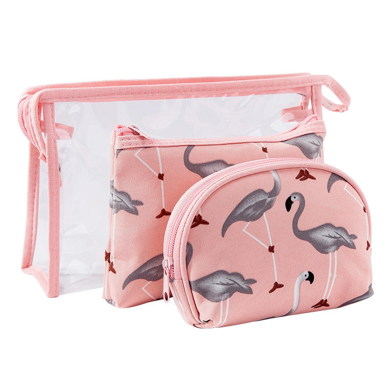 New Color Flamingos Lady Cosmetics collection package set waterproof transparent PVC wash bag three piece set