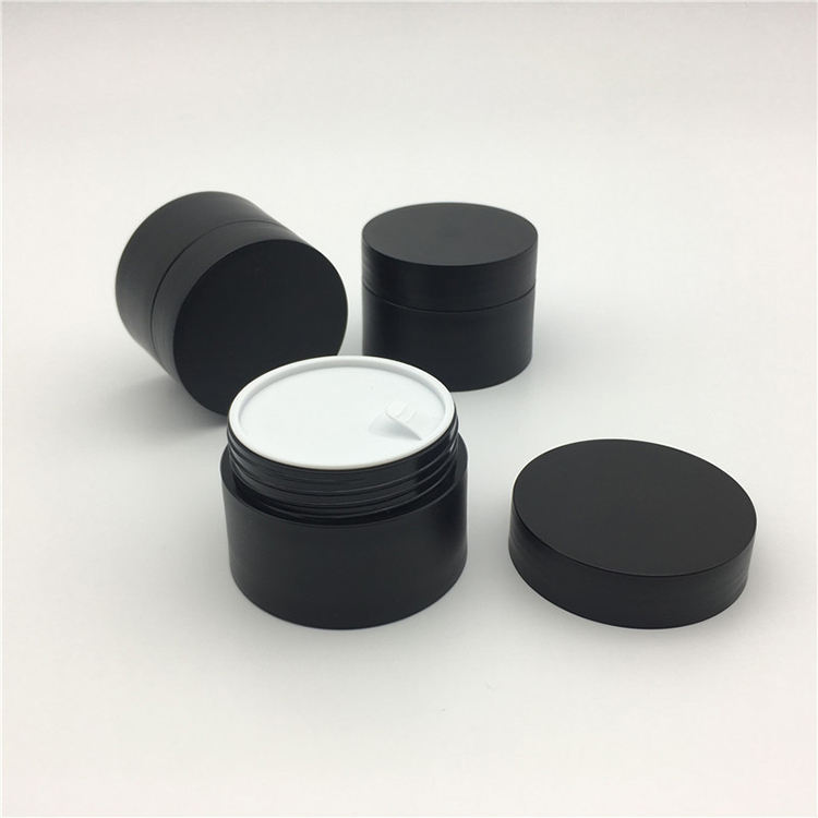 PP small 15ml 15g acrylic empty plastic black matt cosmetic cream jar