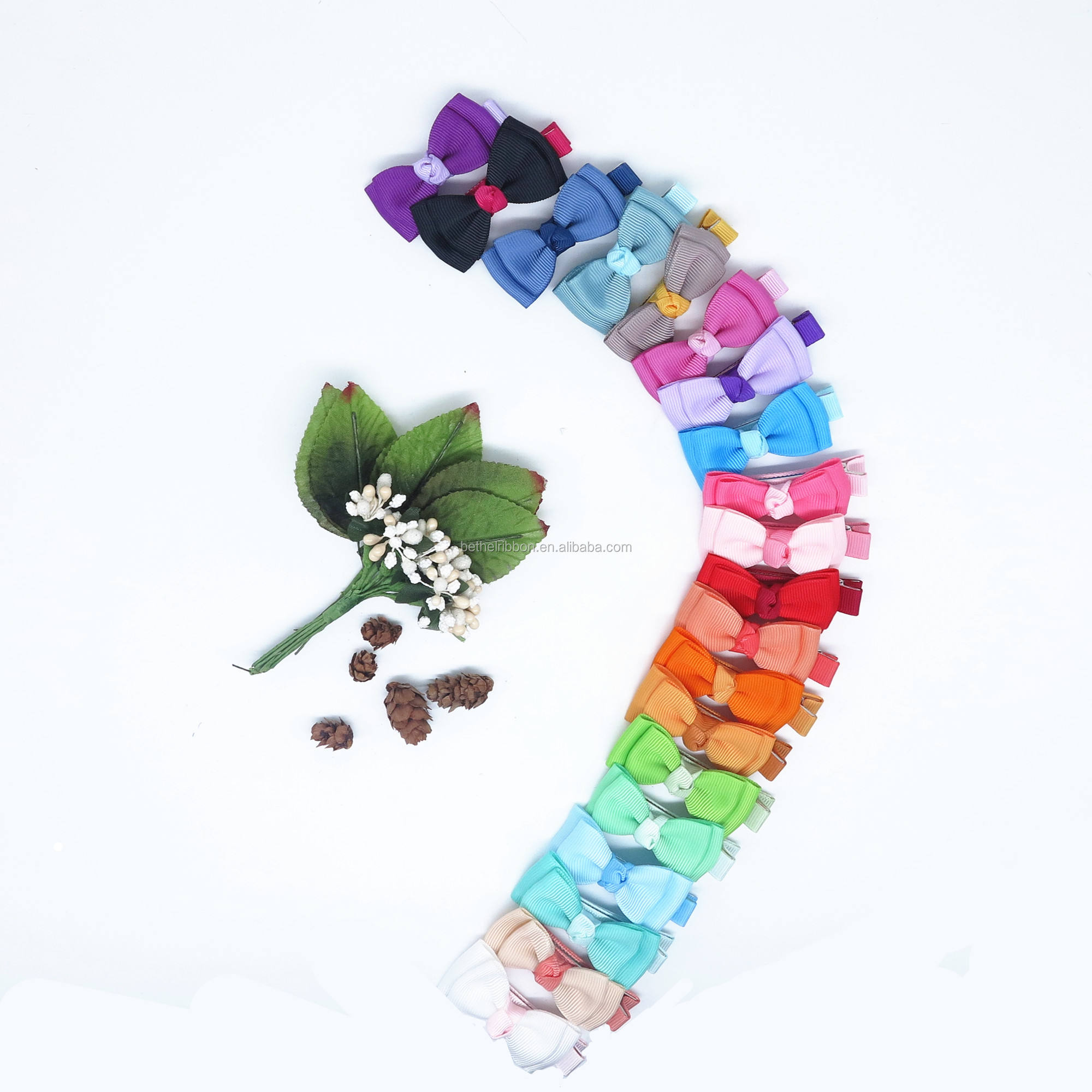 20pcs per bag Colorful baby girl hair bows with alligator clips hair clip