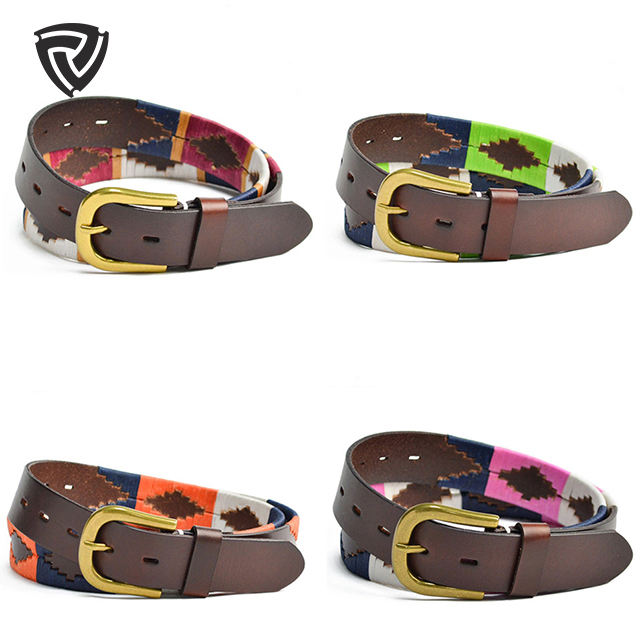 High quality Colorful Handmade polo men genuine leather belts for custom unisex designers fashion belts