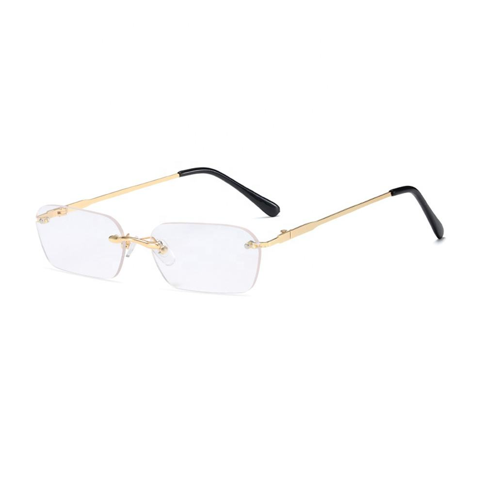 Wholesale small metal frame new stylish men custom shades clear glasses rimless rectangle sunglasses womans