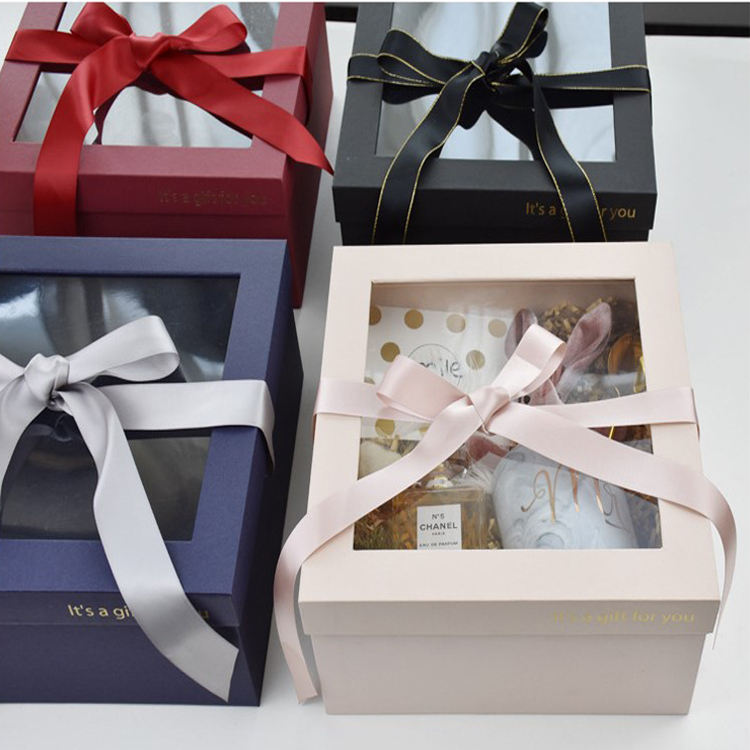Luxury Wedding Gift Set Packaging Paper Box With Transparent Clear Plastic Cover Lid