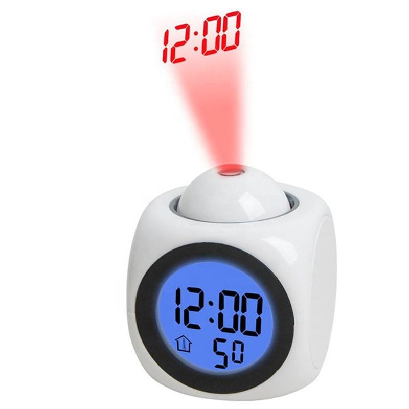 KH-CL012 Kids Bedside Mini Desktop Electronic LCD Digital Laser Projection Talking Time Table Alarm Clock with Time Projector