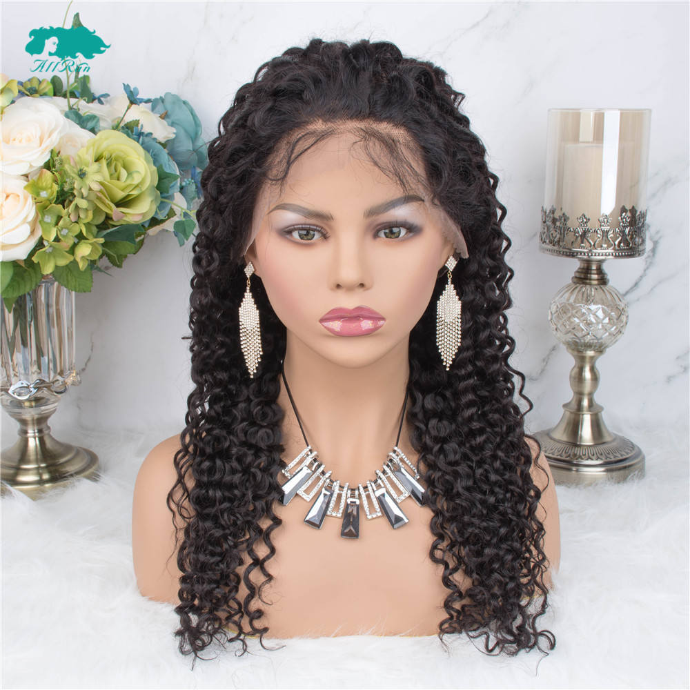 Wholesale Unprocessed Kinky Curly Lace Front 13*4, Long Black Brazilian Human Curly Hair Wig