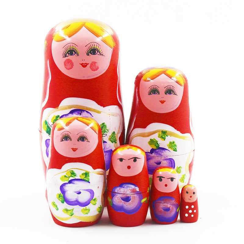 Peach blossom girl six layers Theaceae craft tourism scenic spot souvenir Russia matryoshka doll