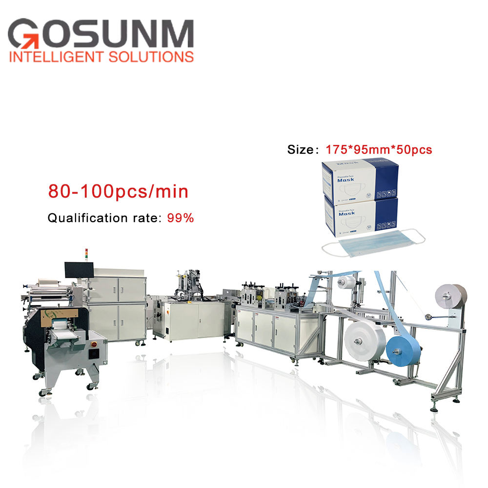 Fully automatic flat mask making machine with inspection packaging production line