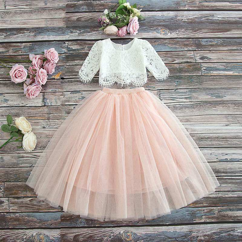 Kids Children Little Kids Shirt Lace Tutu Skirt Two Pieces Christmas Outfit Party Princess Dress Clothes Set Girls' Clothing Set