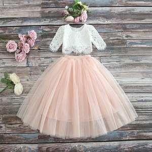 Kids Children Little Kids Shirt Lace Tutu Skirt Two Pieces Christmas Outfit Party Princess Dress Girl Clothes Set