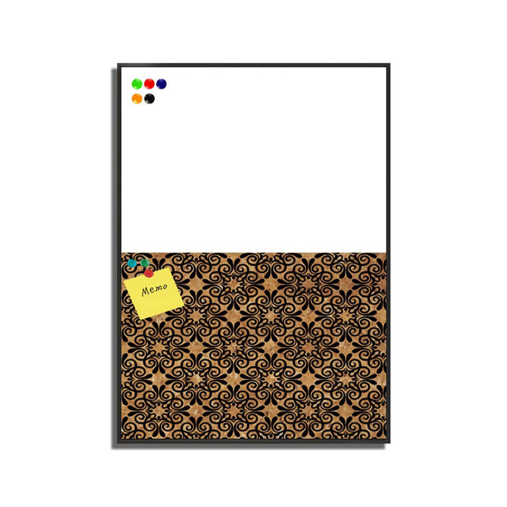 Hot Sale Fine Flora Pattern black Art Wood Veneer Cork board and White board Memo board Wall Art
