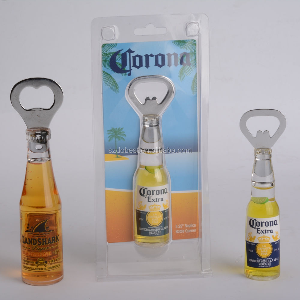 Promotional Acrylic Beer Shape Bottle Opener Liquid Customize Refrigerator Magnet
