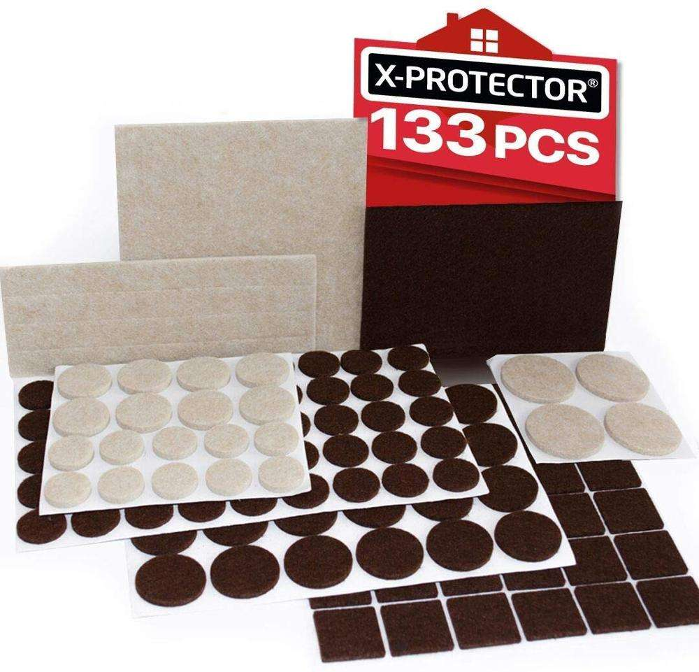 Premium Two Colors Pack Furniture Pads 133 Piece Brown Beige Felt Pads Furniture For Wood Floor Protectors