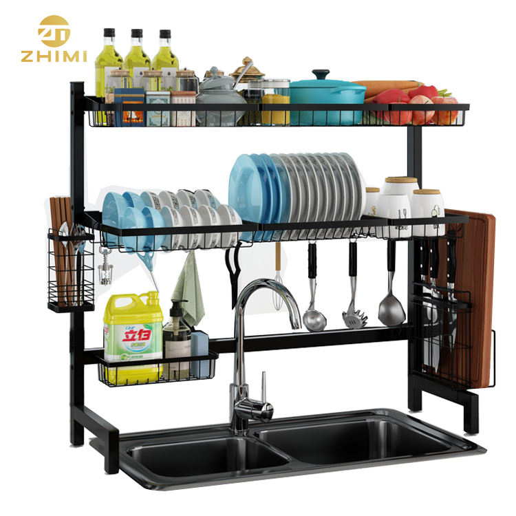 201 Two Tiers Stainless Steel Over the Sink Kitchen Dish Drying Rack Large Dish Rack (Black)